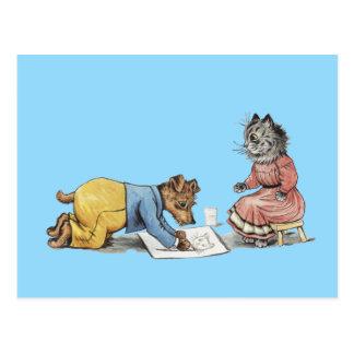 perro divertido del artista que dibuja un gato tarjeta postal