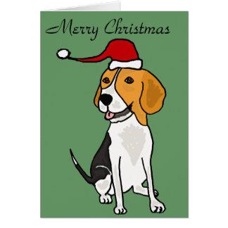 Perro divertido del beagle en arte del navidad del tarjeta de felicitación