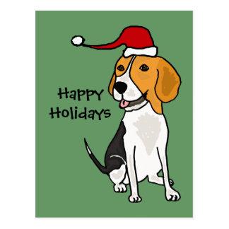 Perro divertido del beagle en arte del navidad del postales