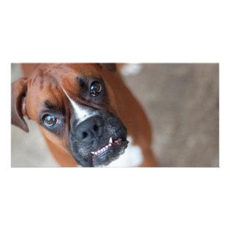 Perro divertido del boxeador tarjeta con foto personalizada