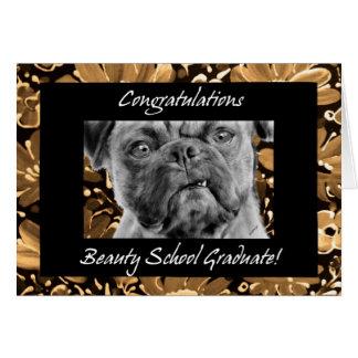 Perro divertido del diplomado de escuela de la tarjeta de felicitación