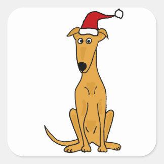 Perro divertido del galgo en arte del navidad del calcomanía cuadradas personalizada