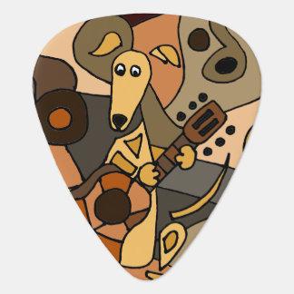 Perro divertido del galgo que juega arte de la plumilla de guitarra