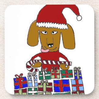 Perro divertido del navidad posavasos