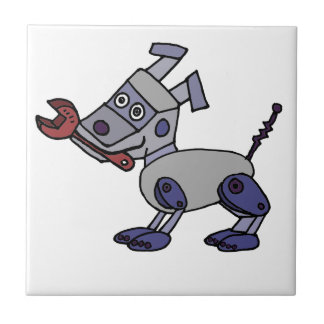 Perro divertido del robot con la llave azulejo cuadrado pequeño
