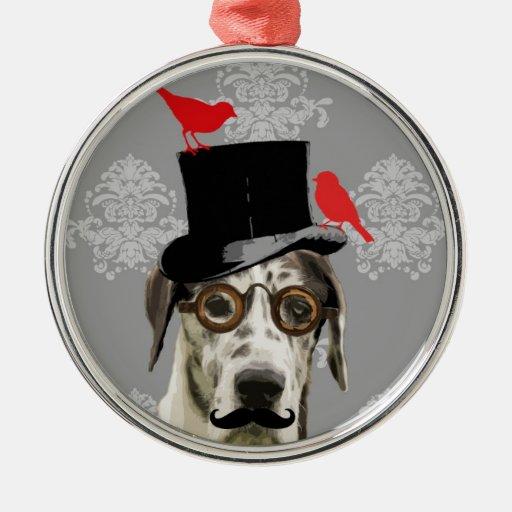 Perro divertido del steampunk ornamento de navidad