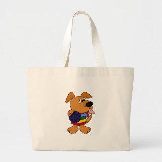 Perro divertido en suéter colorido bolsa de mano