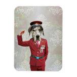 Perro divertido en uniforme del rojo imán