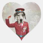 Perro divertido en uniforme del rojo pegatinas de corazon