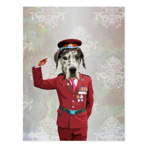Perro divertido en uniforme del rojo tarjetas postales