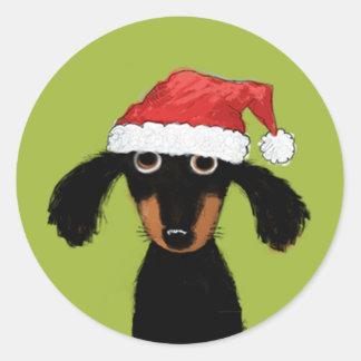 Perro divertido Santa de la salchicha de Frankfurt Pegatina Redonda