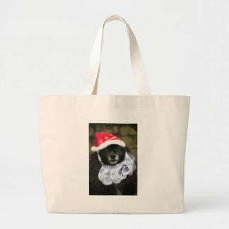 Perro divertido y adorable de Papá Noel con la Bolsa Lienzo