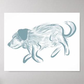 Perro el dormir, Heeler azul, ganado perro, arte Póster