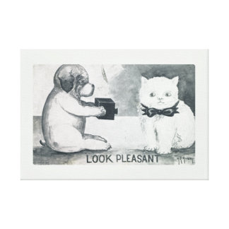 Perro elegante antiguo que toma una foto de un impresión en lona