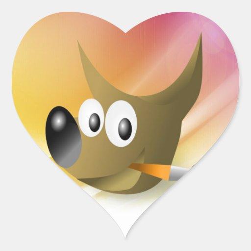 Perro elegante e inteligente con la pluma pegatina en forma de corazón