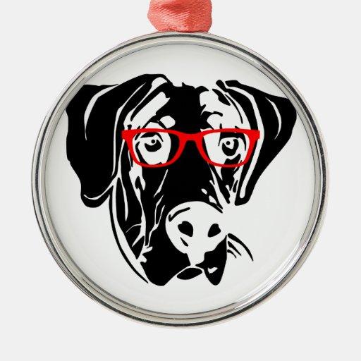 Perro elegante great dane con los vidrios adorno navideño redondo de metal