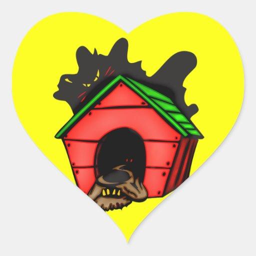 Perro en casa de perro calcomanías corazones