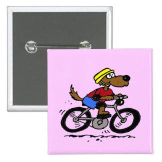 ¡Perro en la bici! Pin Cuadrada 5 Cm