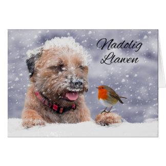 Perro en la nieve, Nadolig Llawen de Terrier de Tarjeta De Felicitación