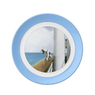 Perro en la placa del buque de vapor plato de cerámica