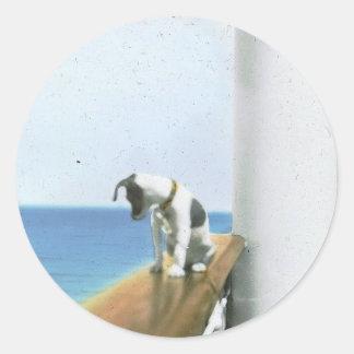 Perro en los pegatinas del buque de vapor etiqueta redonda