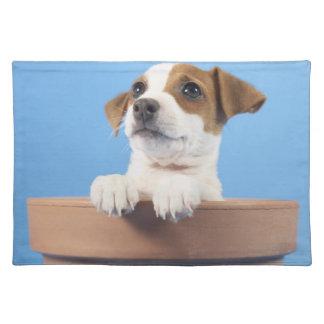 Perro en maceta manteles individuales
