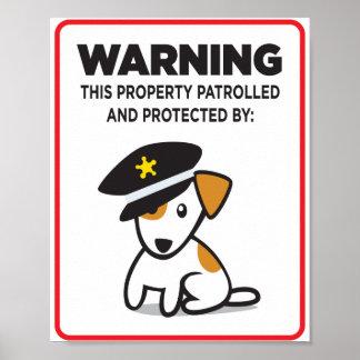 perro en muestra del guardia impresiones