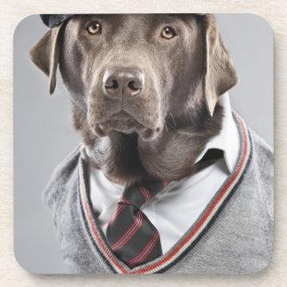Perro en suéter y casquillo posavasos de bebidas