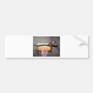 Perro en un bollo etiqueta de parachoque