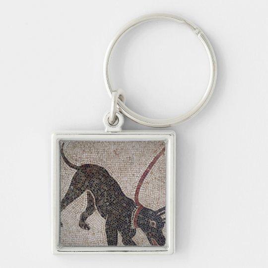 Perro en un correo, de Pompeya Llavero Cuadrado Plateado