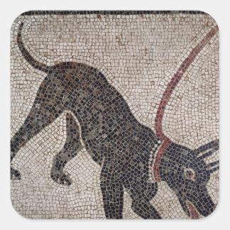 Perro en un correo, de Pompeya Pegatina Cuadrada