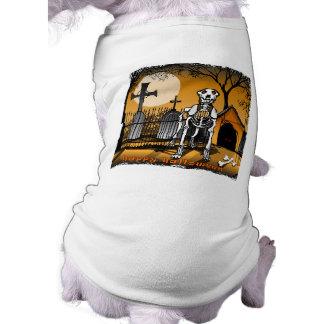 Perro esquelético de Halloween en camiseta del per Playera Sin Mangas Para Perro