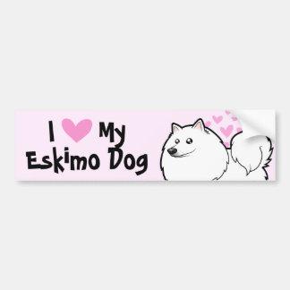 Perro esquimal americano/amor alemán del perro de pegatina para auto