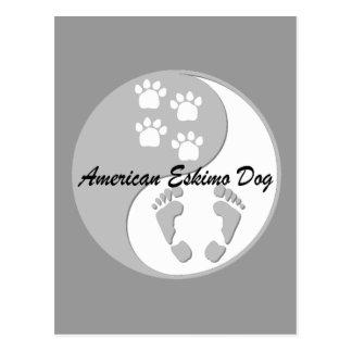 perro esquimal americano de yang del yin tarjeta postal