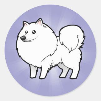 Perro esquimal americano del dibujo animado/perro pegatina redonda
