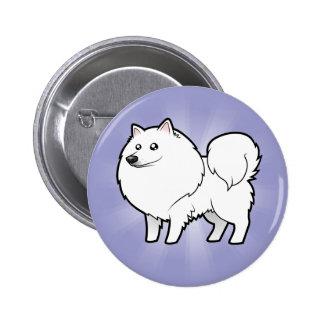 Perro esquimal americano del dibujo animado/perro pin redondo de 2 pulgadas
