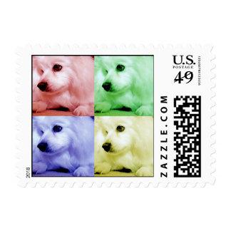 Perro esquimal americano/Eskie en color Timbre Postal