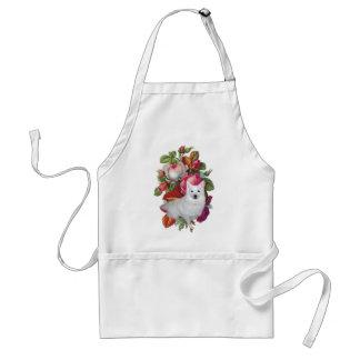 Perro esquimal americano floral delantal