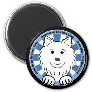 Perro esquimal americano imán redondo 5 cm