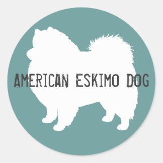 Perro esquimal americano pegatina redonda