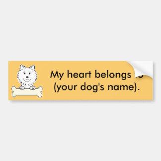 Perro esquimal americano personalizado pegatina de parachoque