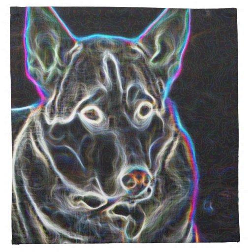 Perro esquimal de neón servilleta
