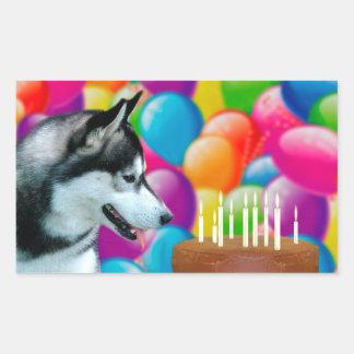 Perro esquimal del cumpleaños pegatina rectangular