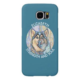 Perro esquimal observado azul abstracto el perro fundas samsung galaxy s6