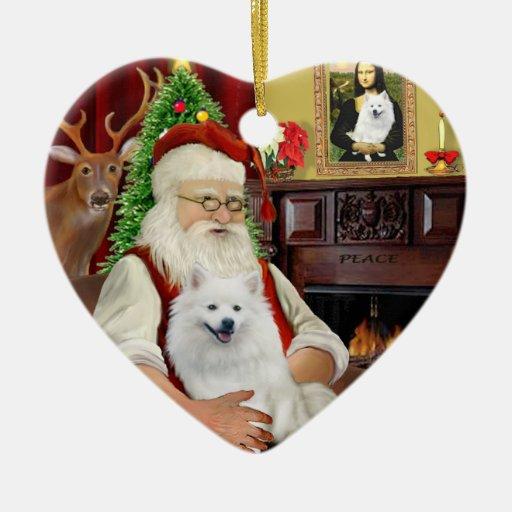 Perro esquimal Santa-Americano Adorno Navideño De Cerámica En Forma De Corazón