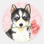 Perro esquimal subió tarjeta del día de San Etiqueta Redonda