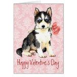 Perro esquimal subió tarjeta del día de San Valent