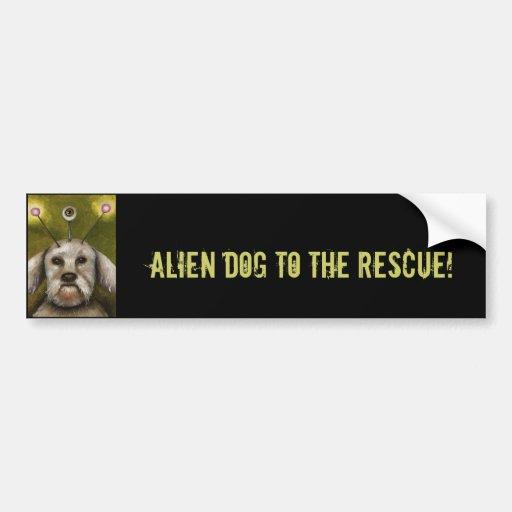 Perro extranjero etiqueta de parachoque