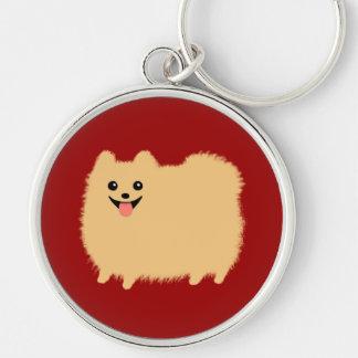 Perro feliz de Pomeranian - Pom lindo estupendo Llavero Redondo Plateado