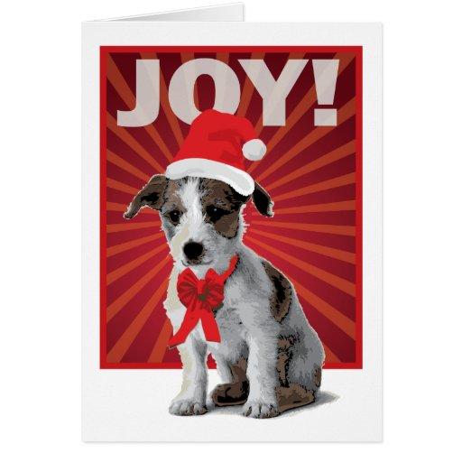 Perro feliz del día de fiesta - Jack Russell Santa Tarjetas
